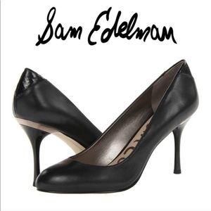 Sam Edelman Camdyn Black Leather Heels Pumps